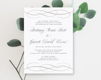 Printable Wedding Invitation Suite   The Brittany Collection in Black & White or Custom Colors   Classic   Elegant   PDF or Printed Invites