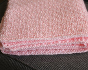 Handmade Knitted Baby Blanket - Soft Pink