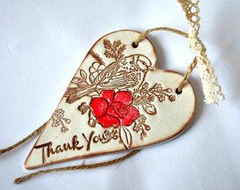 Bird print heart ornament, Unique thank you gift, Rustic home decoration, Appreciation gift , Thank you sign, Thank you card alternative
