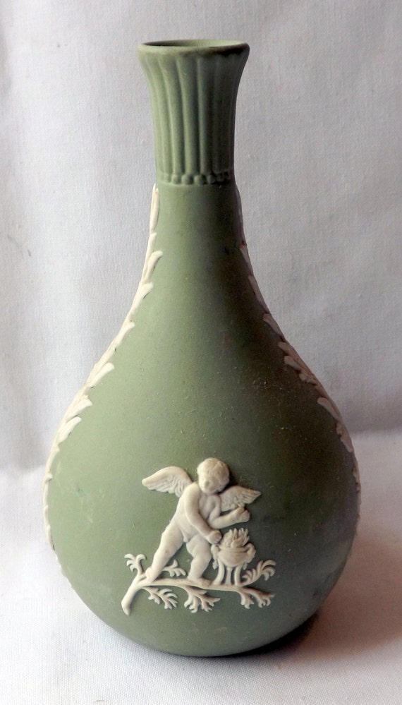 Wedgwood Jasperware Posy Vase Sage Green No Chips Or Cracks