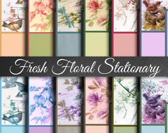 Fresh FIoral Stationary - Digital Stationary Papers, Printable Stationary, Vintage Stationary, Paris France Stationary, Old Time Papers