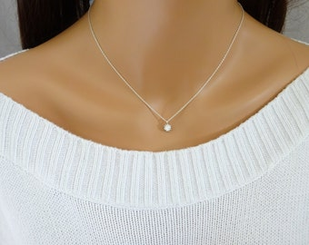 Silver CZ Necklace, Simple minimalist necklace, Perfect layering necklace, Sterling Silver chain, CZ pendant necklace