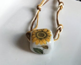 Cotton Cord Sunflower Necklace, Ceramic Bead Necklace, Sunflower Beaded Necklace, Multi-strand Cord Necklace, Sunflower Bead