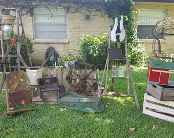 Fresh Salvage Choices! Some Larger Items Local Pickup Only Garden Art! Ladders Crate Crock Wagon Wheel, Swing, Atlas Mason, Cast iron, Folk