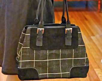 Tartan Plaid Gray Flannel Handbag w Vegan Suede Accents/Easy Wipeable Vinyl Lining