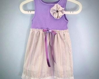 Toddler Easter Dress, Girls Dress, Lavender Pillowcase Dress, Ready to Ship, Sundress, Repurposed Dress