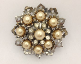 Vintage Ornate Brooch with Champagne Faux Pearls and Silver Colour Metal