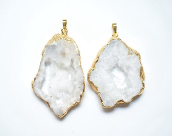 Nature White Geode Druzy pendant necklace,White Druzy Agate Pendant with Gold Electroplated Edges--Necklace Drusy Pendant
