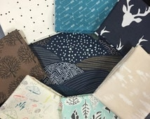 Curated Nature Fabric Bundle with Forest Trees, Hillsides and Woodland Animals featuring Hello Bear  - 8 Fat Quarters