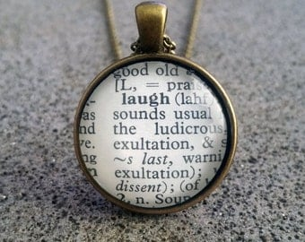 """Word Pendant and Chain """"Laugh"""""""