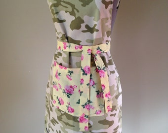 Camouflage Ladies Apron, Floral Apron, Womens Apron, Teenagers Apron, Kitchen Apron, Cooking Apron, Hostess Apron, Camo Apron, Camo
