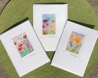 Watercolor notecards, original watercolor paintings on blank notecards, tiny paintings, miniature art