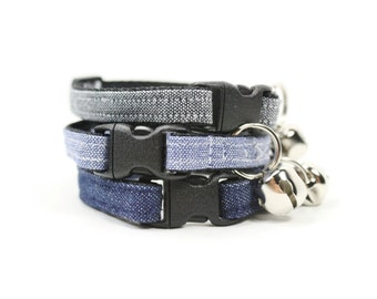 Denim Cat Collar Blue Grey Chambray Cat Collar Breakaway Safety with Bell