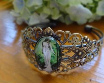 Fairie Woodland Goddess Antique Gold Cuff Bracelet Cabochon