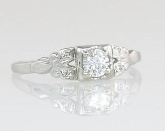 Estate Vintage Art Deco .40ct Genuine Diamond 14K Gold Engagement Wedding Ring