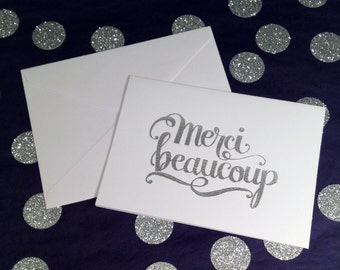 Thank You/Merci Folded Note Cards and Envelopes - Silver and White - Set of 8