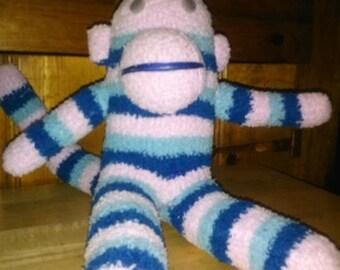 Blue/Pink/Light Blue Striped Sock Monkey