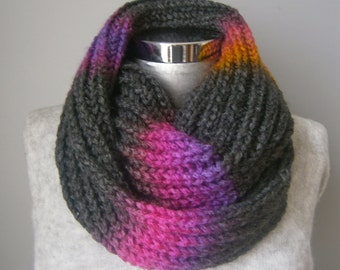 Knit scarf chunky scarf grey scarf grey knit scarf winter scarf knit infinity scarf FAST DELIVERY