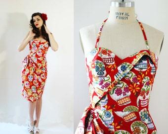 SALE! Pinup dress, Rockabilly dress, Mexican dress, Sugarskull dress, Mexican Dia de los Muertos, sugar skull print - Small