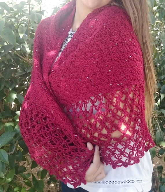 Knitting Gifts For Mum : Knit shawl gift for mom red wrap triangle and