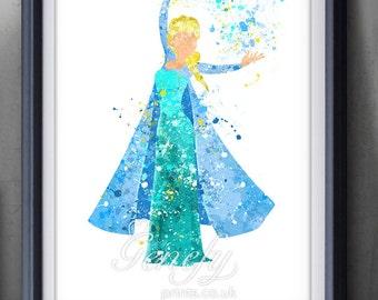 Disney Elsa Frozen Watercolor Poster Print - Wall Decor - Watercolor Painting - Watercolor Art - Kids Decor- Nursery Decor
