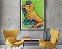 nude drawing, canvas art large, contemporary canvas art, colorful painting, naked paintings, fauvist art - anat ostrovsky