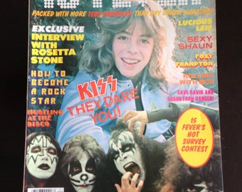 Vintage 15 Fever magazine Kiss on cover Paul Stanley and Kiss Poster NM