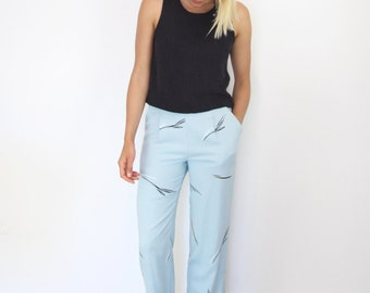 High Waisted Silk Trousers. Women's Pleat Front Minimalist Elasticated Printed Pants.