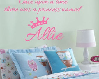 Once upon a time, There was a, Princess, Name, Personalized, Crown, Vinyl, Wall, Decal, Girl, Child, Baby, Nursery, Bedroom, Home, Decor