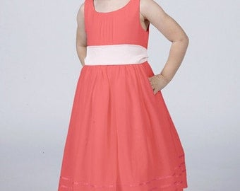 Coral Flower Girl Dress with Complimentary Coloured Sash by Matchimony