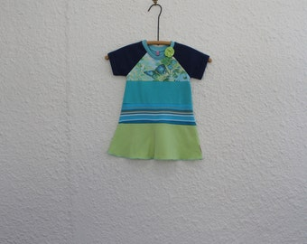 Girl's Upcycled T Shirt Dress Size 1, Recycled Tshirt Dress, Repurposed T Shirt Dress, Handmade T Shirt Dress, Baby Dress Toddler Dress