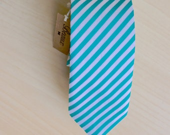 Turquoise Green and White Striped Tie