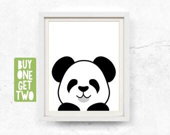Panda illustration, Peekaboo, Black & white, Nursery wall art, Monochrome, Panda printable, Digital download, Kids panda print, 8x10, 11x14