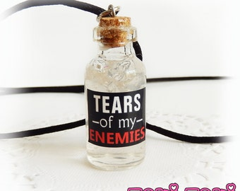 Bottle Necklace, Bottle Charm, Glass Bottle Pendant, Glass Vial Necklace, Geek Necklace, Potion Bottle, Gamer Necklace, Funny Gift, GOT Gift