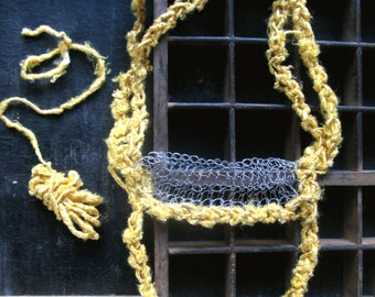Wire long necklace, silk yarn necklace, yellow necklace, statement jewellery