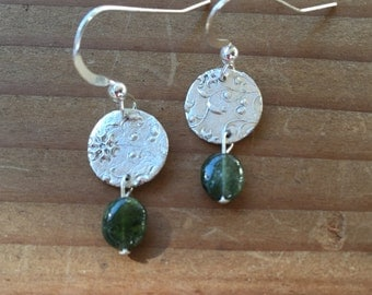 Delicate Green Tourmaline and Fine Silver  Earrings