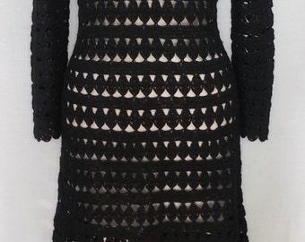 Vintage 1970's Bergdorf Goodman black, full length crochet dress