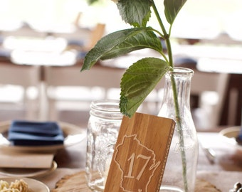 Wood Table Numbers Custom Etched for Your Location and Wedding Hashtag - State Wedding Table Numbers - Custom Table Numbers