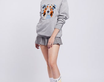 AUSTRALIAN SHEPHERD | Grey sweatshirt with embroidered Australian shepherd dog | Aussie sweatshirt