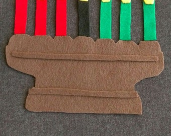 Kwanzaa- Kinara Felt Board Set// Flannel Board Story Set // Children // Teacher Story //  Cultures // Preschool //