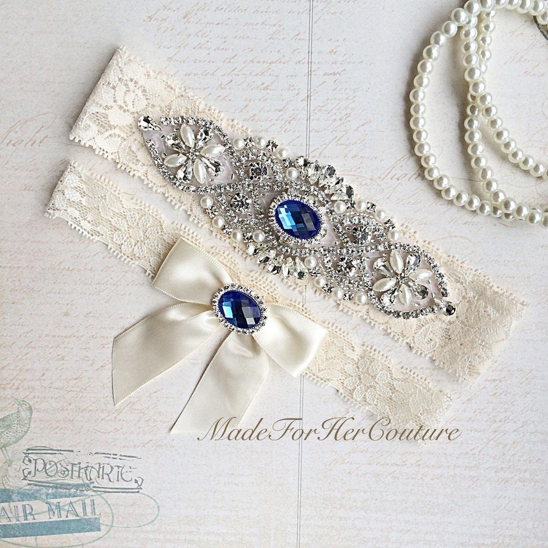 Royal Blue Wedding Garter Bridal Garter Set By