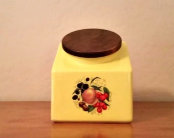 Vintage Canister Hyalyn Yellow Slanted Style