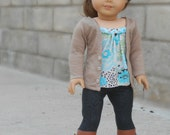 Tan/Beige Cardigan with Buttons for American Girl Dolls