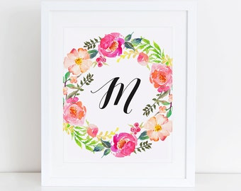Personalized Monogram Name Nursery Printable Art Print, Instant Download, Nursery Floral Printable Calligraphy Monogram, Custom Name Art