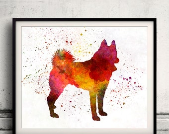 Russian European Laika 01 in watercolor - Fine Art Print Poster Decor Home Watercolor Illustration Dog - SKU 2021