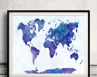 World map in watercolor 21 - Fine Art Print Glicee Poster Decor Home Gift Illustration Wall Art Countries Colorful - SKU 2132