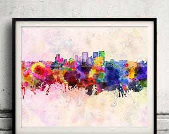 Darwin skyline in watercolor background 8x10 in. to 12x16 in. Poster Digital Wall art Illustration Print Art Decorative - SKU 1315