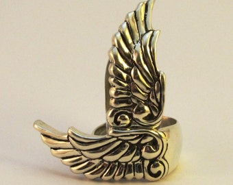 Sterling Silver Wing Feather Ring