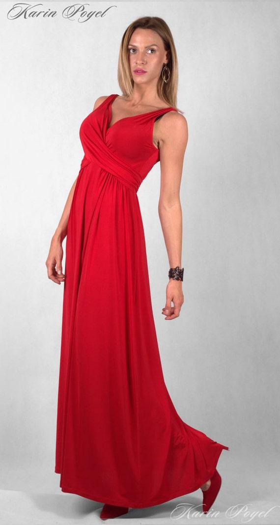 Red Bridesmaid Evening Dress / Sheath Stretch Dress / Red Dress / Wedding Sleeveless Dress / KARIN # 12-035-01-09-00