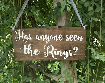 Has anyone seen the rings - ring bearer sign - rustic wooden sign - wood sign - wedding signage - custom wood sign - custom sign - wedding
